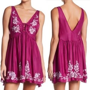 Free People Aida Embroidered Boho Mini Dress